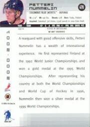 2000-01 BAP Memorabilia #476 Petteri Nummelin RC back image