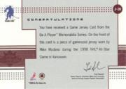 2000-01 BAP Memorabilia Jersey #J20 Mike Modano back image