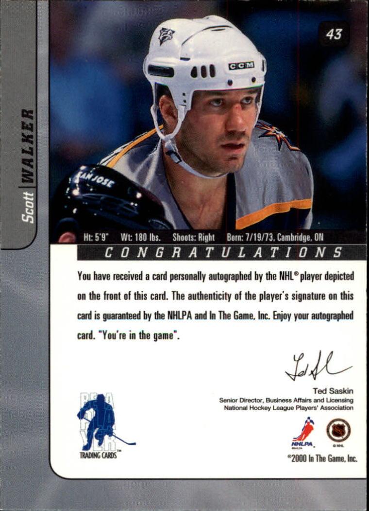 2000-01 BAP Signature Series Autographs #43 Scott Walker back image