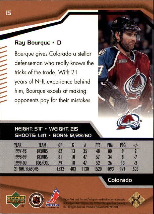 2000-01 Black Diamond #15 Ray Bourque back image