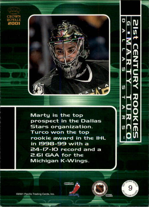 2000-01 Crown Royale 21st Century Rookies #9 Marty Turco back image