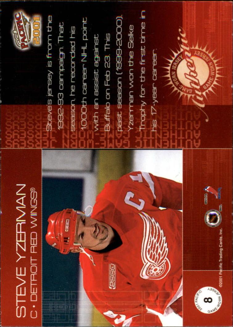 2000-01 Pacific Jerseys #8 Steve Yzerman back image