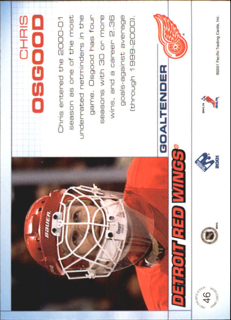 2000-01 Private Stock Game Gear #46 Chris Osgood J back image