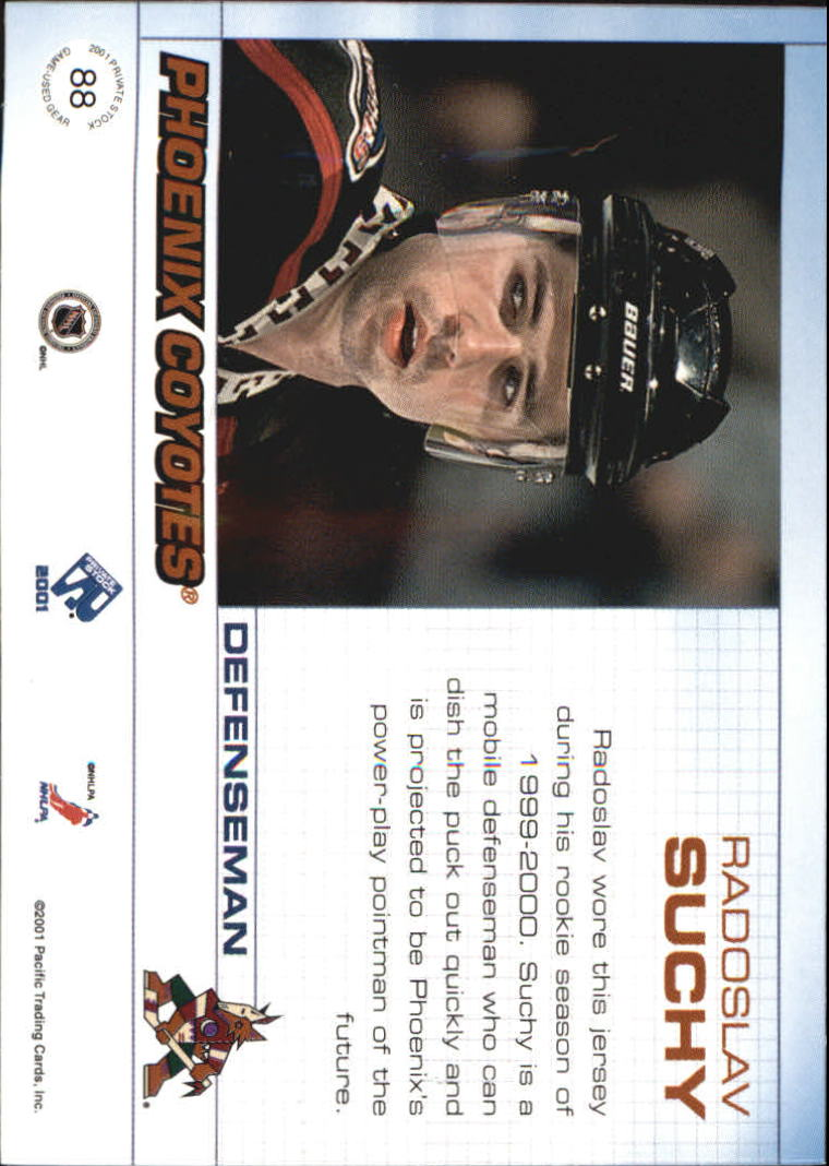 2000-01 Private Stock Game Gear Patches #88 Radoslav Suchy/125 back image