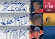2000-01 SP Authentic Sign of the Times #THOG Gordie Howe/25/Wayne Gretzky/Bobby Orr