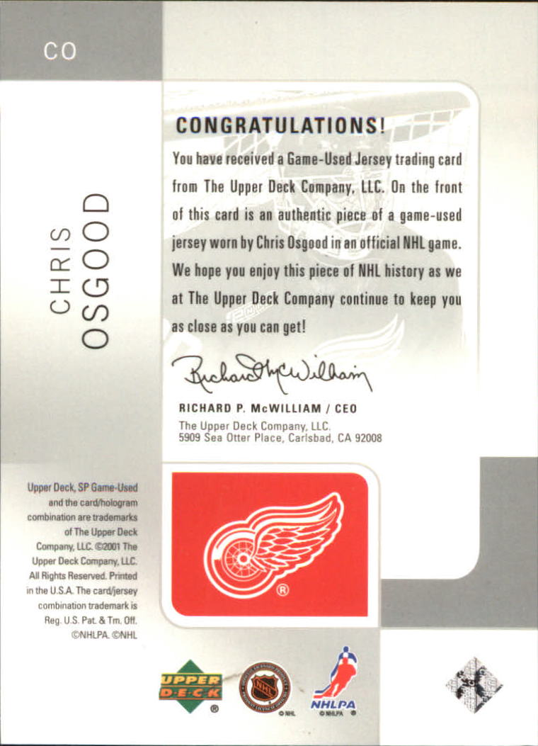 2000-01 SP Game Used Tools of the Game #CO Chris Osgood back image