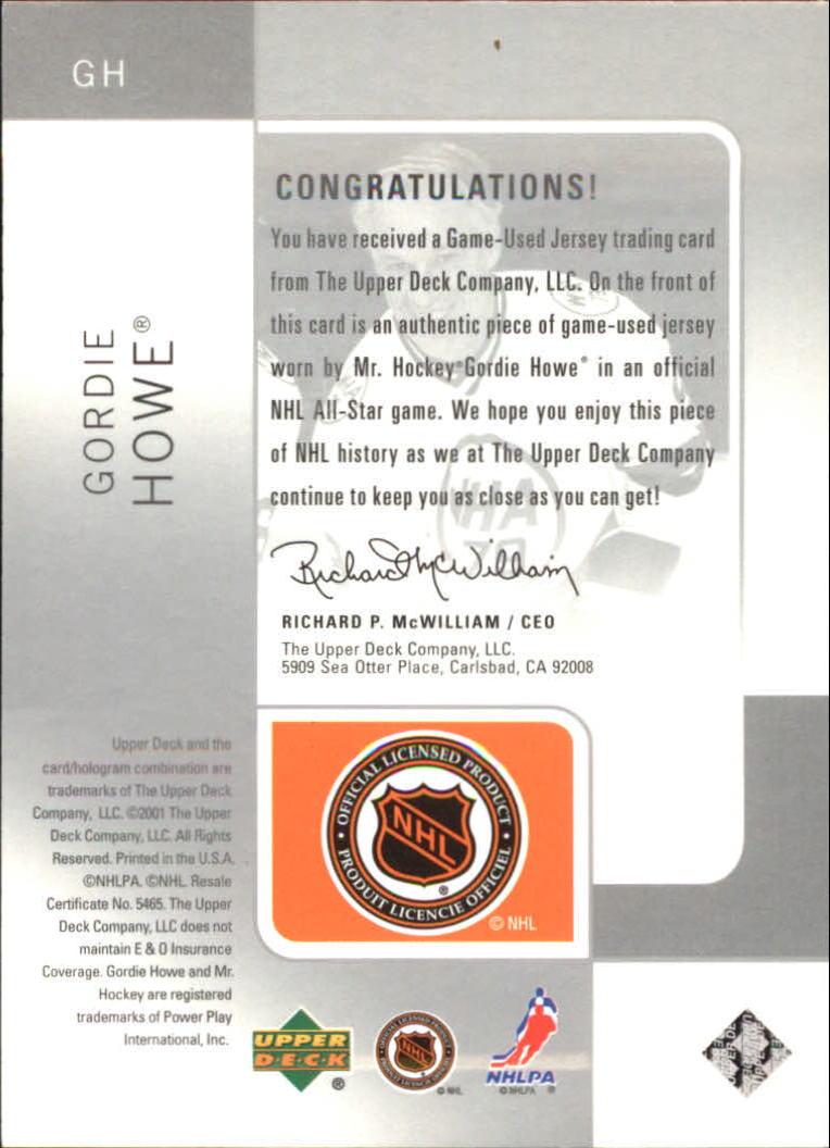 2000-01 SP Game Used Tools of the Game Exclusives #GH Gordie Howe back image