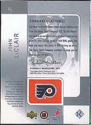 2000-01 SP Game Used Tools of the Game Exclusives #JL John LeClair back image