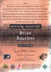 2000-01 SPx Winning Materials #WBC Brian Boucher Upd back image