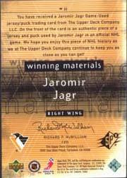 2000-01 SPx Winning Materials #WJJ Jaromir Jagr Upd back image