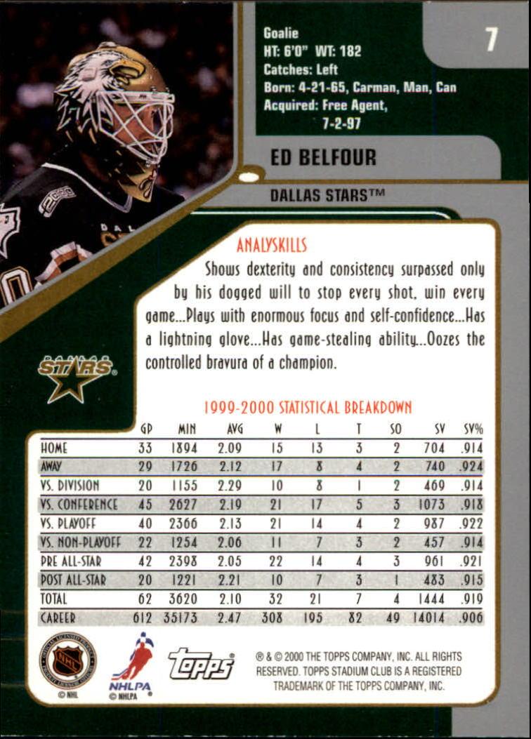 2000-01 Stadium Club #7 Ed Belfour back image