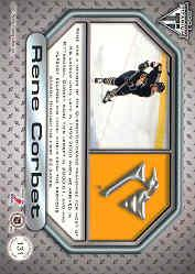 2000-01 Titanium Game Gear Patches #131 Rene Corbet/400 back image