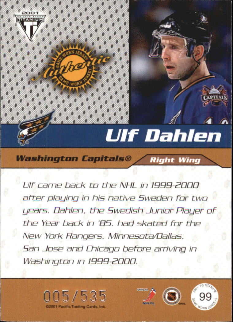 2000-01 Titanium Draft Day Edition #99 Ulf Dahlen/535 back image