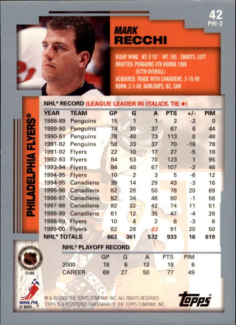 2000-01 Topps #42 Mark Recchi back image