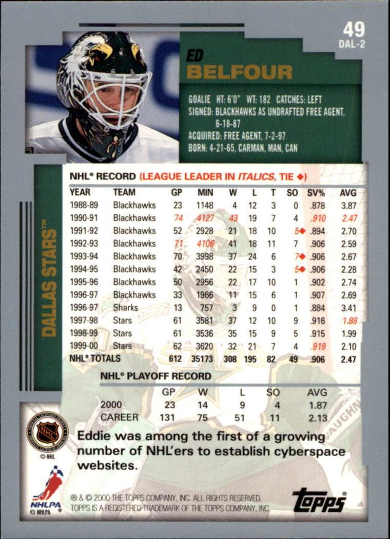 2000-01 Topps #49 Ed Belfour back image