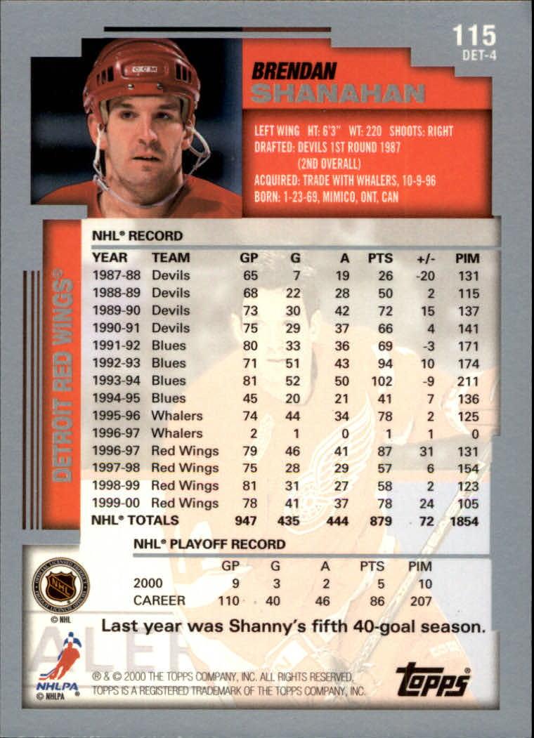 2000-01 Topps #115 Brendan Shanahan back image