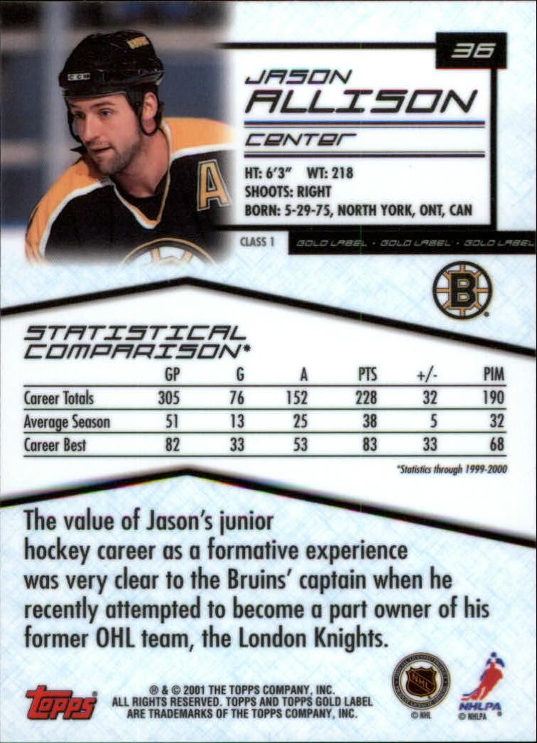 2000-01-Topps-Gold-Label-Class-1-Hockey-1-100-Your-Choice-GOTBASEBALLCARDS thumbnail 67