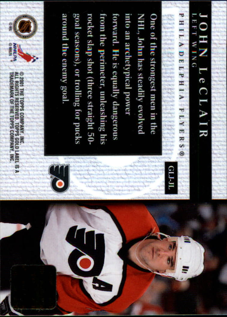 2000-01 Topps Gold Label Game-Worn Jerseys #GLJJL John LeClair back image