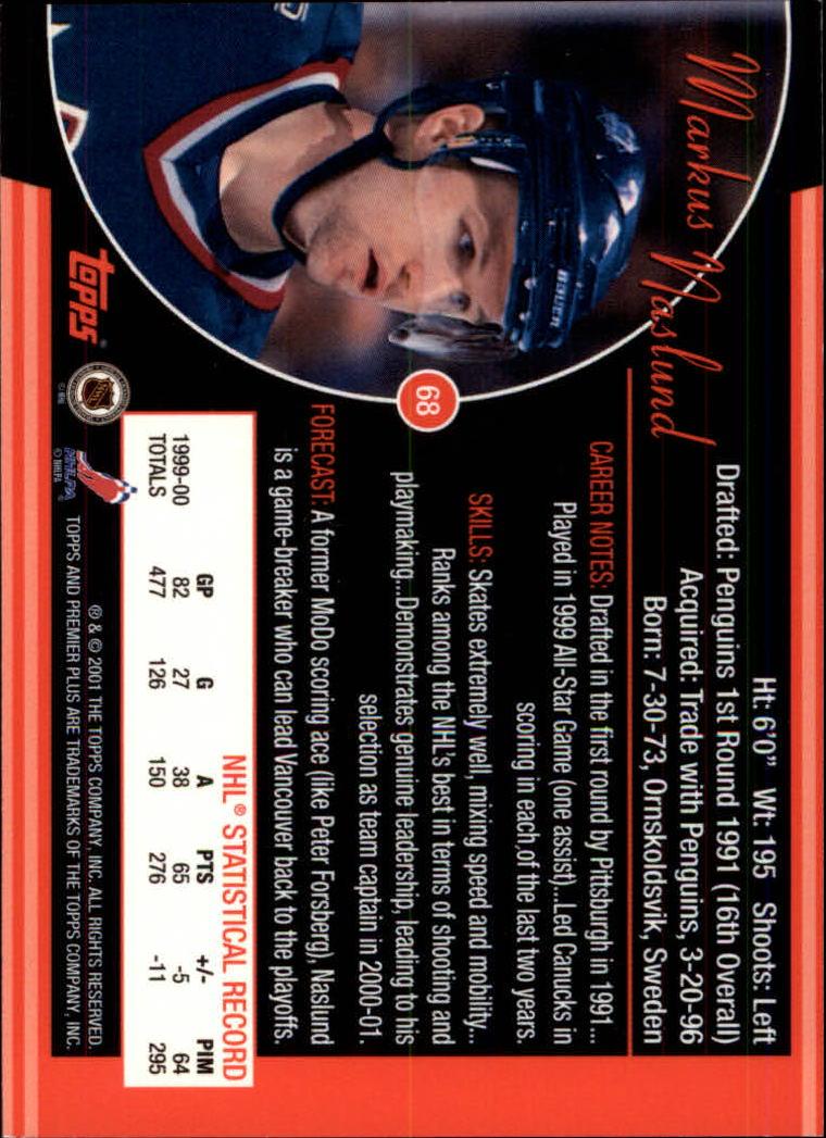 2000-01 Topps Premier Plus #68 Markus Naslund back image