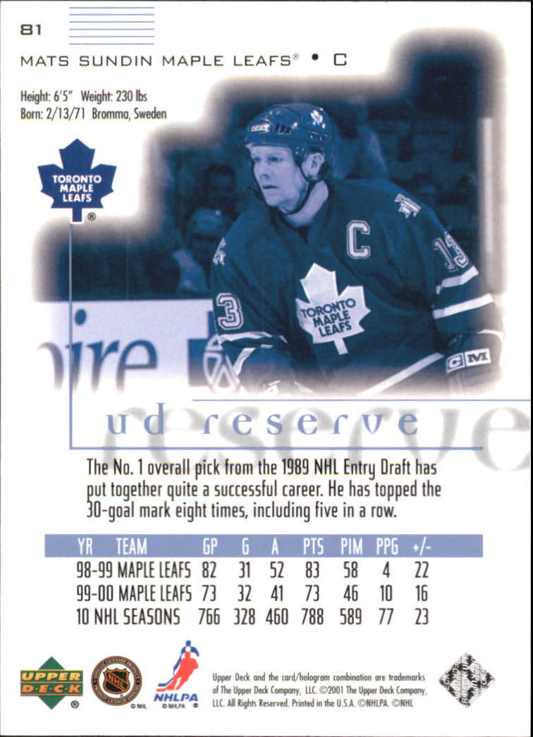 2000-01-UD-Reserve-Hockey-Cards-Pick-From-List