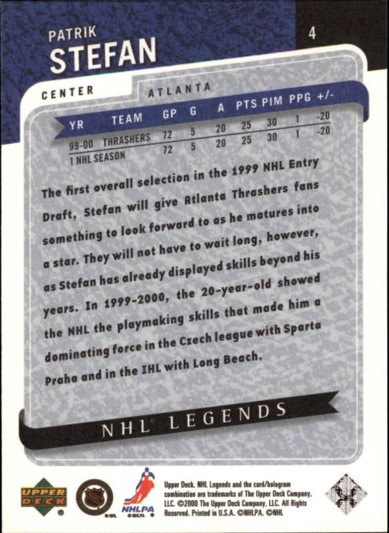 2000-01 Upper Deck Legends #4 Patrik Stefan back image