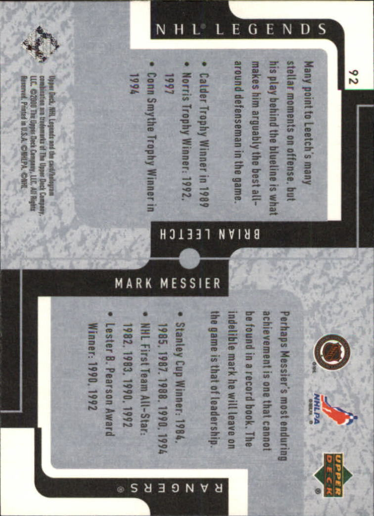 2000-01 Upper Deck Legends #92 Mark Messier/Brian Leetch back image
