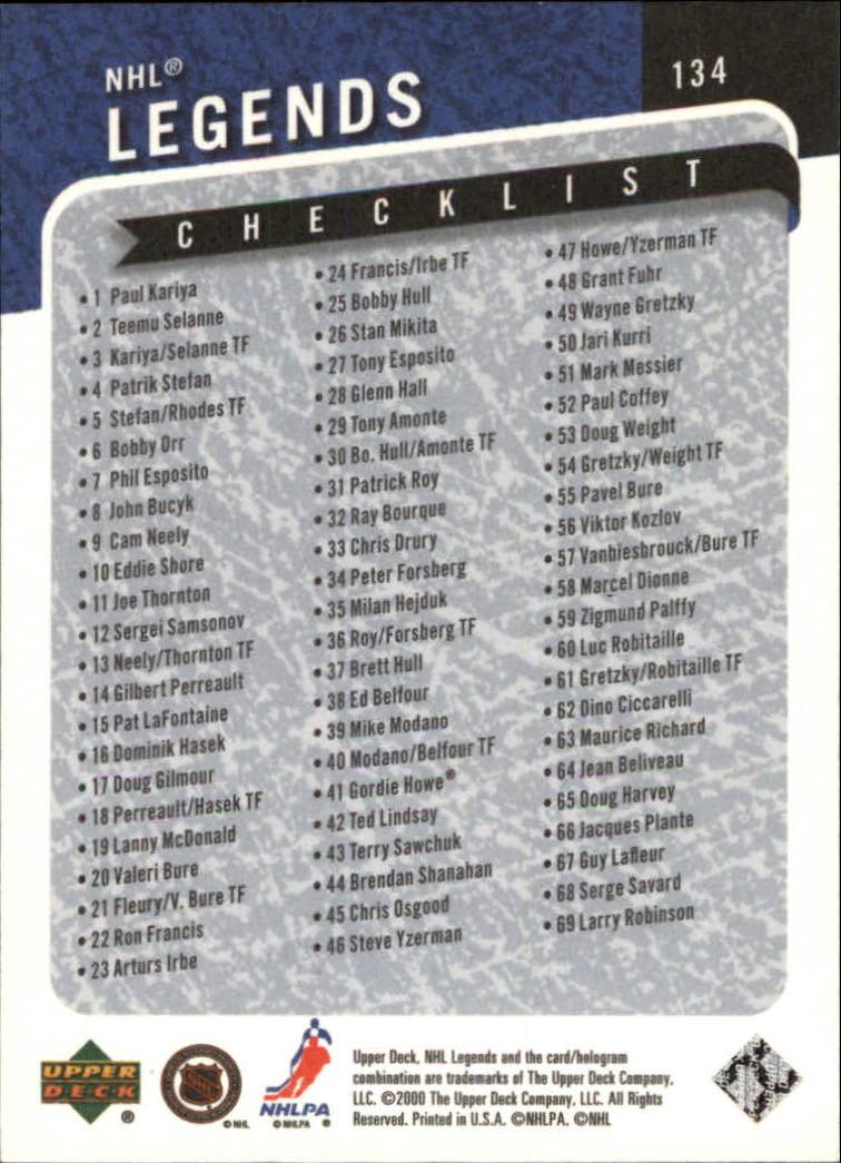 2000-01 Upper Deck Legends #134 Wayne Gretzky CL back image
