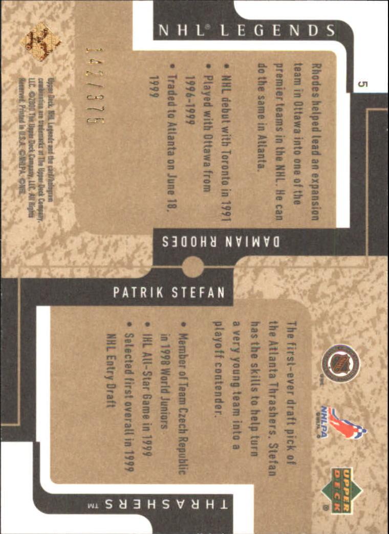 2000-01 Upper Deck Legends Legendary Collection Gold #5 Patrik Stefan/D.Rhodes back image