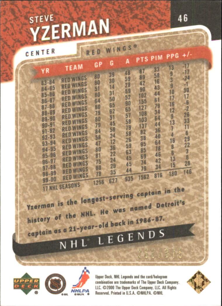 2000-01 Upper Deck Legends Legendary Collection Gold #46 Steve Yzerman back image