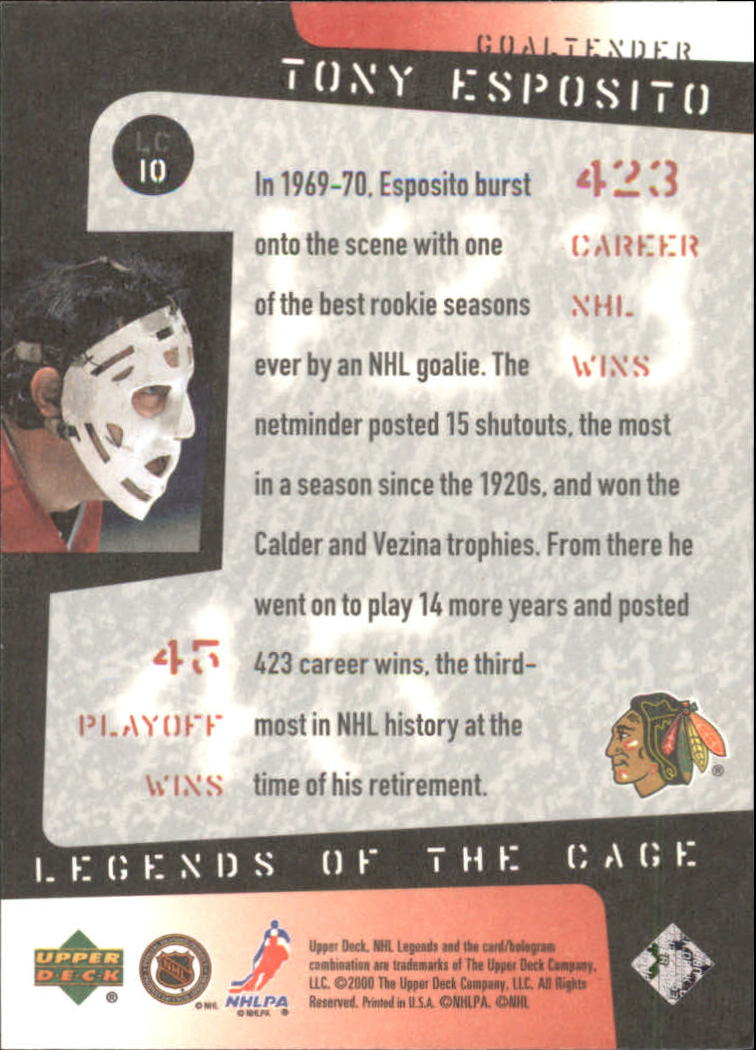 2000-01 Upper Deck Legends of the Cage #LC10 Tony Esposito back image