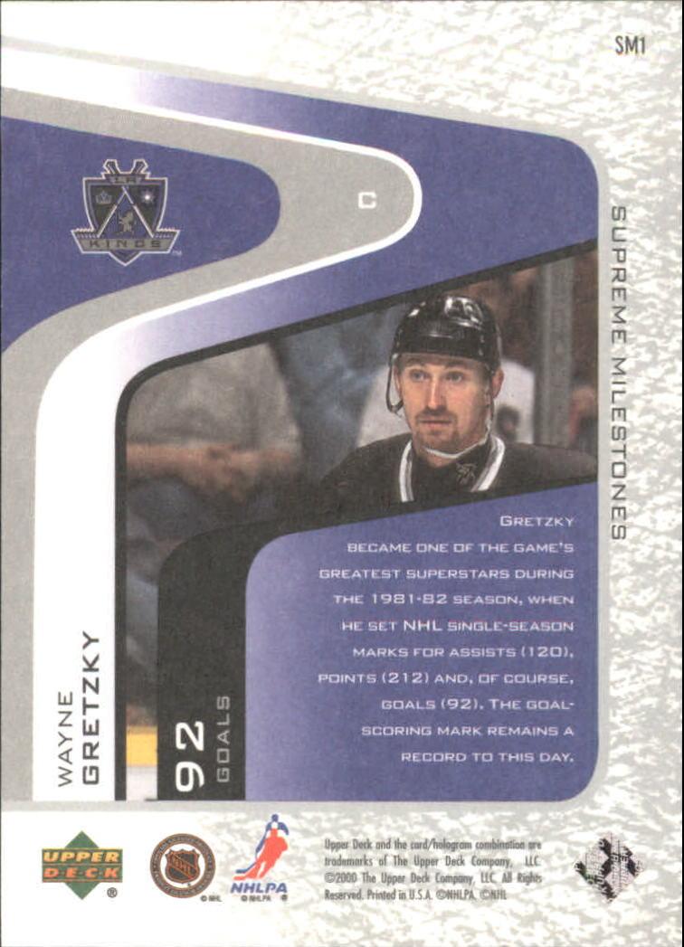 2000-01 Upper Deck Legends Supreme Milestones #SM1 Wayne Gretzky back image