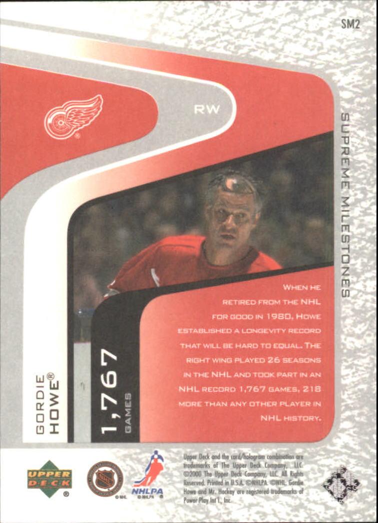 2000-01 Upper Deck Legends Supreme Milestones #SM2 Gordie Howe back image