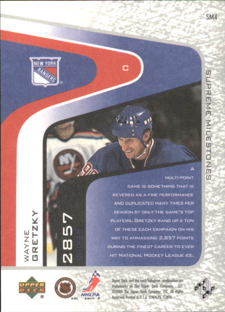 2000-01 Upper Deck Legends Supreme Milestones #SM4 Wayne Gretzky back image
