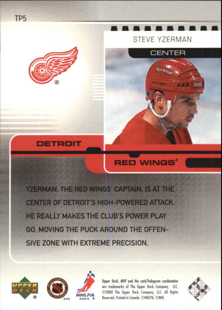 2000-01 Upper Deck MVP Top Playmakers #TP5 Steve Yzerman back image