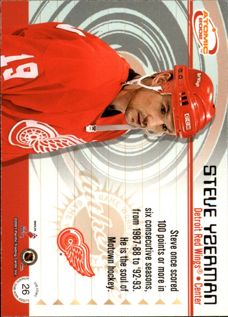 2001-02 Atomic Jerseys #26 Steve Yzerman back image