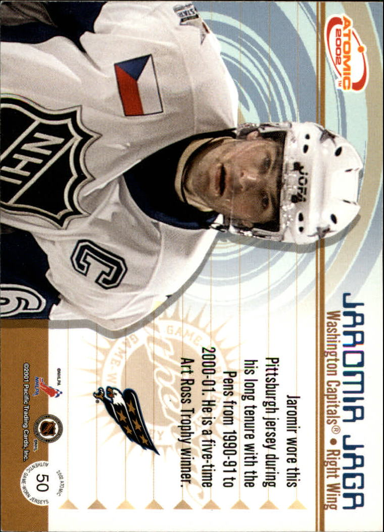 2001-02 Atomic Jerseys #50 Jaromir Jagr back image