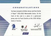 2001-02 BAP Memorabilia All-Star Jerseys #ASJ27 Pavol Demitra back image