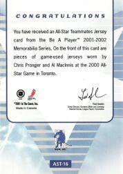 2001-02 BAP Memorabilia All-Star Teammates #AST16 Chris Pronger/Al MacInnis back image