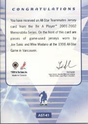 2001-02 BAP Memorabilia All-Star Teammates #AST41 Joe Sakic/Mike Modano back image