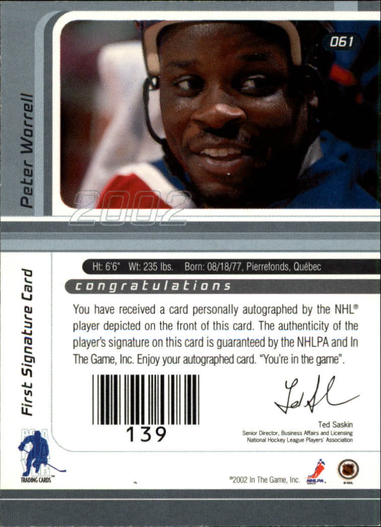 2001-02 BAP Signature Series Autographs #61 Peter Worrell back image