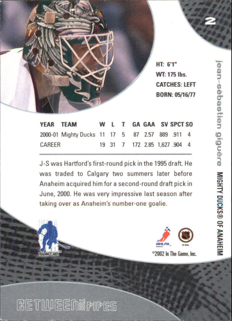 2001-02 Between the Pipes #2 Jean-Sebastien Giguere back image