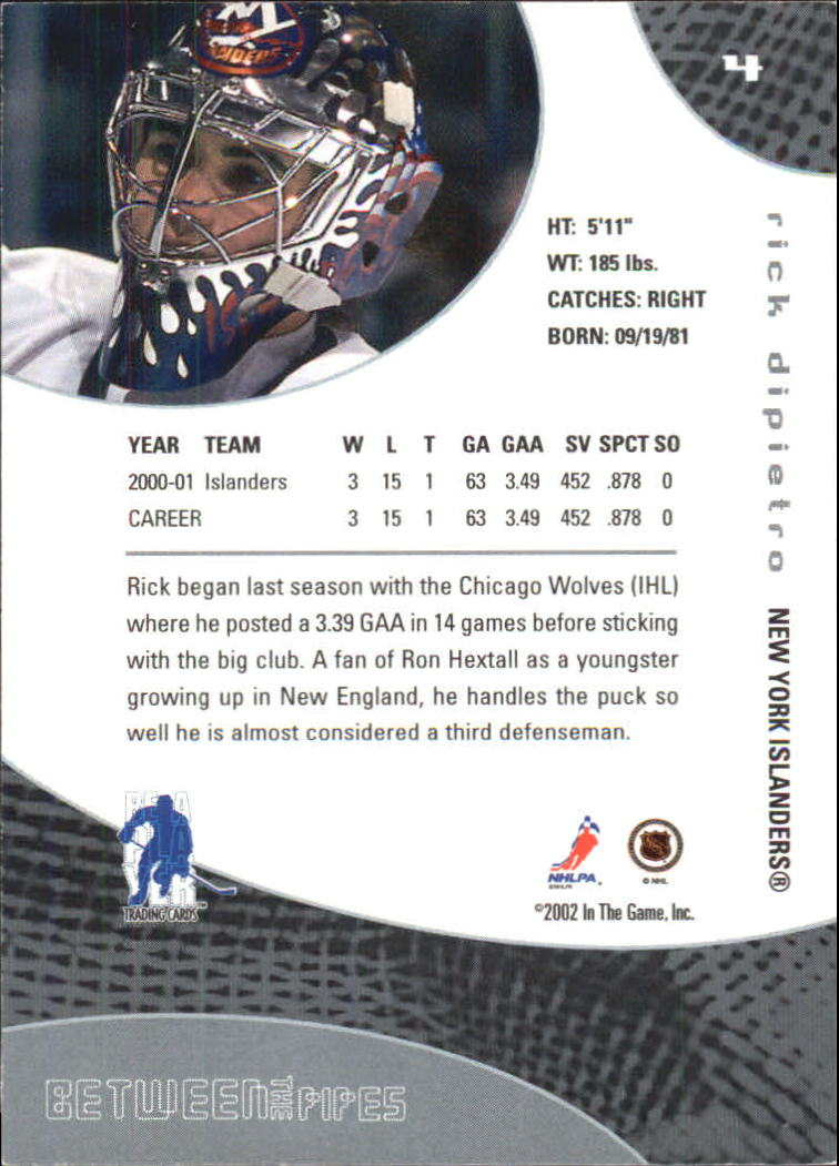 2001-02 Between the Pipes #4 Rick DiPietro back image