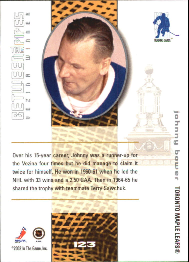 2001-02 Between the Pipes #123 Johnny Bower back image