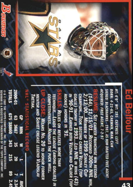2001-02 Bowman YoungStars #43 Ed Belfour back image