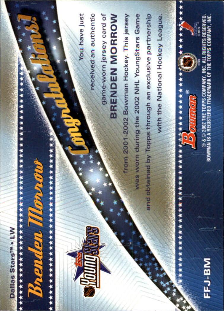 2001-02 Bowman YoungStars Relics #JBM Brenden Morrow J back image