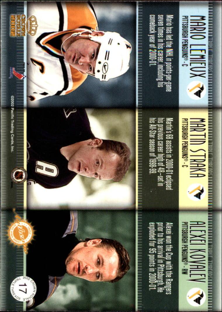2001-02 Crown Royale Triple Threads #17 Mario Lemieux/Martin Straka/Alexei Kovalev back image