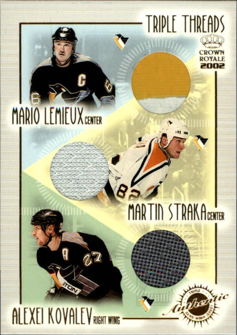 2001-02 Crown Royale Triple Threads #17 Mario Lemieux/Martin Straka/Alexei Kovalev