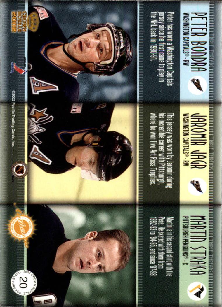 2001-02 Crown Royale Triple Threads #20 Peter Bondra/Jaromir Jagr/Martin Straka back image