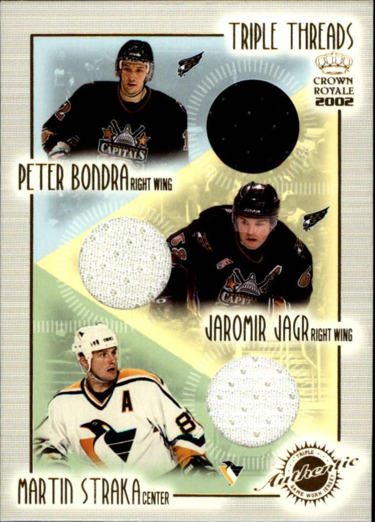 2001-02 Crown Royale Triple Threads #20 Peter Bondra/Jaromir Jagr/Martin Straka