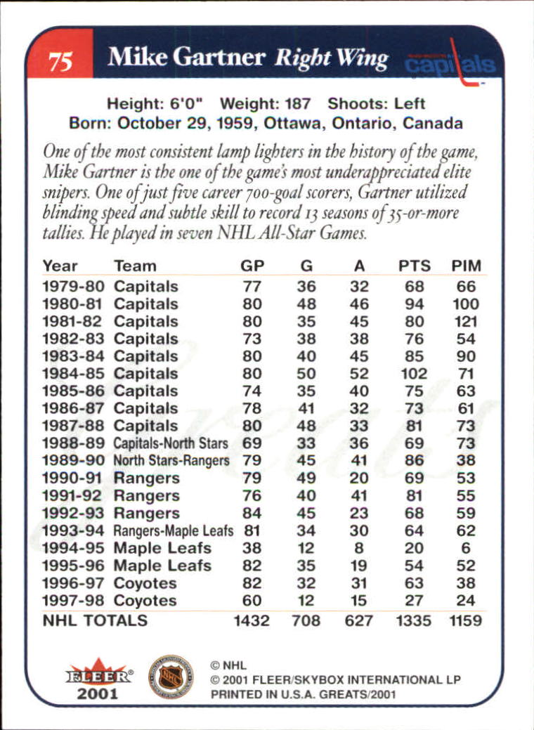 2001-02 Greats of the Game #75 Mike Gartner back image